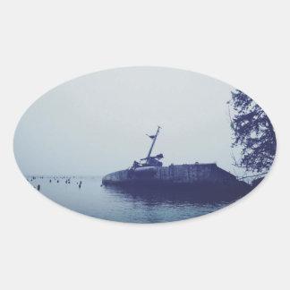Ship Wreck Oval Sticker
