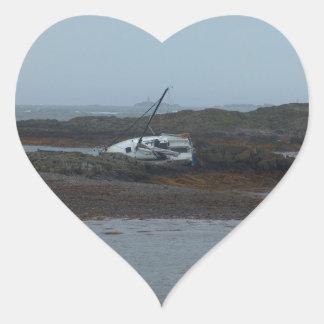 Ship wrecked heart sticker