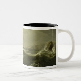 Ship Wrecked on a Rocky Coast, c.1747-50 (oil on c Two-Tone Coffee Mug