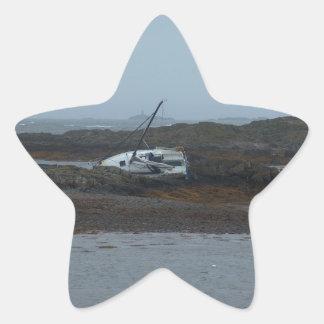Ship wrecked star sticker