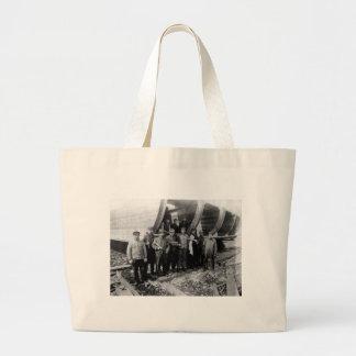 Shipbuilders in Marine City Michigan Vintage Large Tote Bag