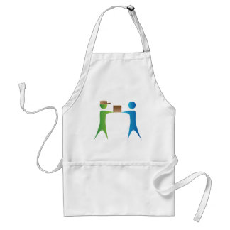 Shipping Box Delivery Stick Figure People Adult Apron