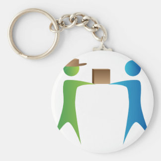 Shipping Box Delivery Stick Figure People Basic Round Button Keychain
