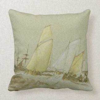 Shipping, c.1828-30 (pen, brush & brown ink, bodyc throw pillow