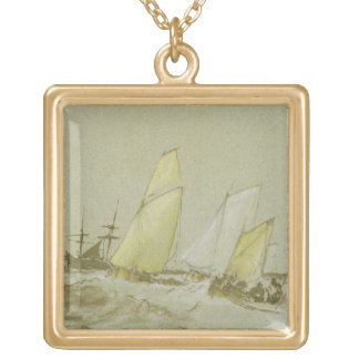 Shipping, c.1828-30 (pen, brush & brown ink, bodyc square pendant necklace