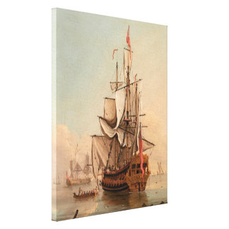 Shipping in a Calm | Peter Monamy Canvas Print