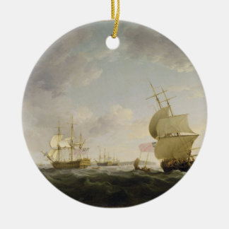 Shipping in the English Channel, c.1755 (oil on ca Ceramic Ornament