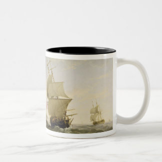 Shipping in the English Channel, c.1755 (oil on ca Two-Tone Coffee Mug