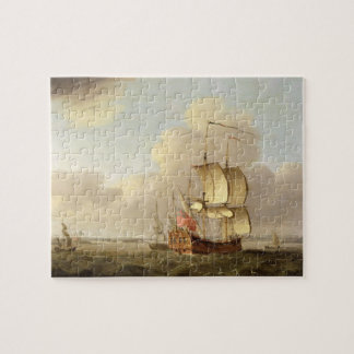 Shipping in the Thames Estuary, c.1761-66 (oil on Jigsaw Puzzle