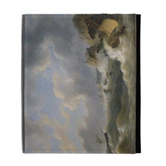 Shipping off a Coastline in a Rough Sea (oil on ca iPad Folio Case