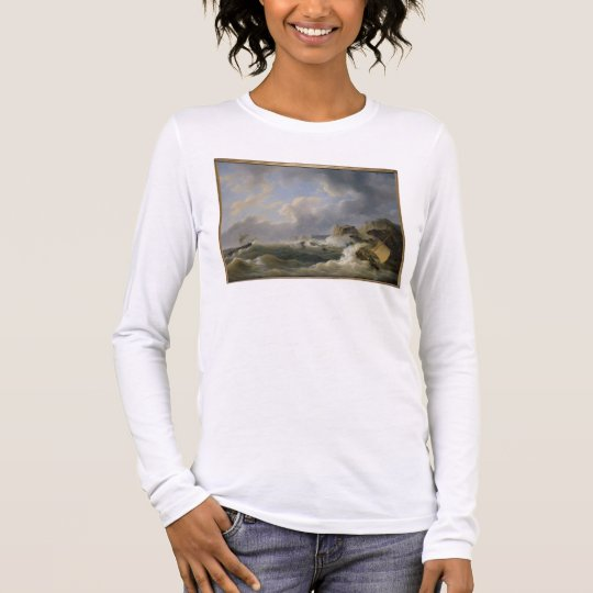 Shipping off a Coastline in a Rough Sea (oil on ca Long Sleeve T-Shirt