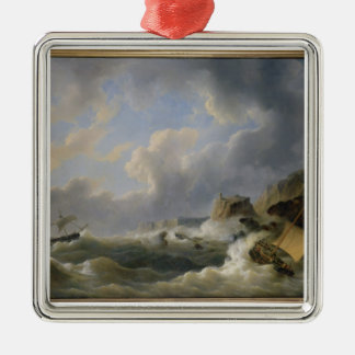 Shipping off a Coastline in a Rough Sea (oil on ca Metal Ornament
