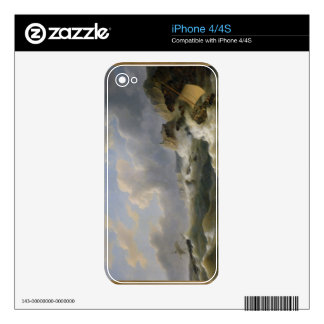 Shipping off a Coastline in a Rough Sea (oil on ca iPhone 4 Decal