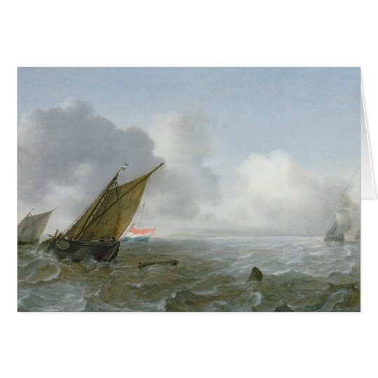 Shipping Offshore in a breeze, 17th century Card