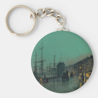 Shipping on the Clyde by John Atkinson Grimshaw Basic Round Button Keychain