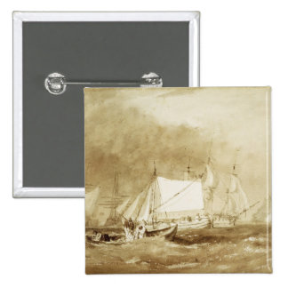 Shipping Scene, with Fishermen, c.1815-20 (brush & 2 Inch Square Button