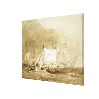 Shipping Scene, with Fishermen, c.1815-20 (brush & Stretched Canvas Print