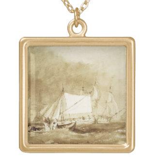 Shipping Scene, with Fishermen, c.1815-20 (brush & Square Pendant Necklace