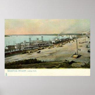 Shipping Wharf, Memphis, Vintage 1906 print