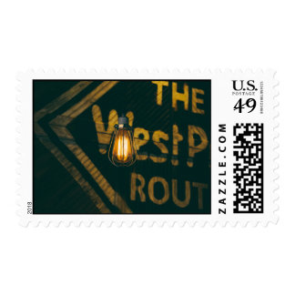 Shipping yard at night postage stamps