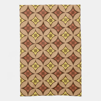 Shippo with Flower Motif, Brown and Golden Yellow Hand Towels