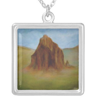 Shiprock Painting by Laurie Mitchell Necklace