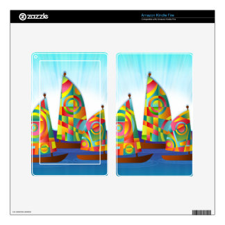 ships-162075 ships sailing colorful sails cartoon decal for kindle fire