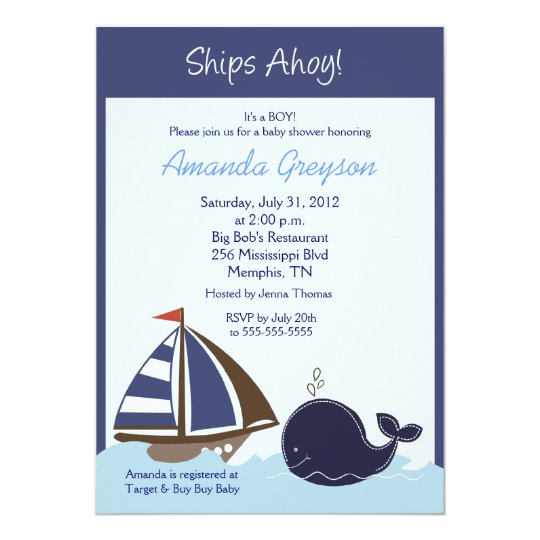 ships ahoy blue whale 5x7 baby shower invitation zazzle