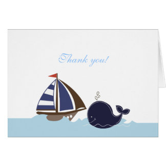 Ships Ahoy Blue Whale Folded Thank you note Stationery Note Card
