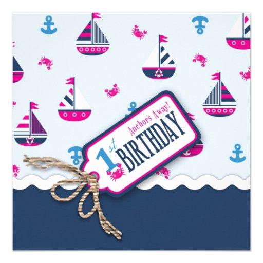 Ships Ahoy! Girl Birthday Invite Square 1