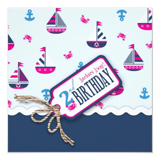Ships Ahoy! Girl Birthday Invite Square 2