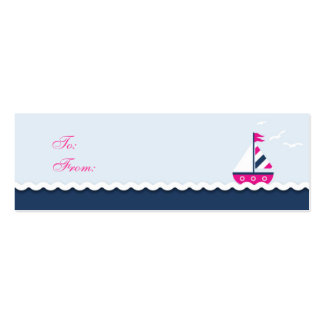 Ships Ahoy! Girl Skinny Gift Tag Business Card Templates