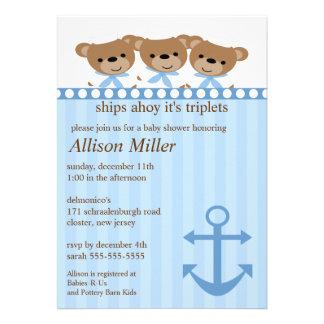 Ships Ahoy It s TRIPLET S Baby Shower Custom Announcement
