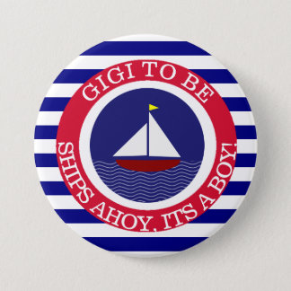 Ships Ahoy, Its a Boy Baby Shower Button
