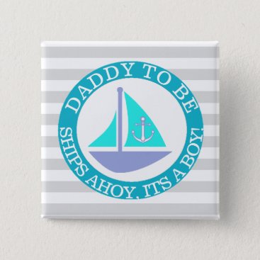 Beach Themed Ships Ahoy, Its a Boy Baby Shower Button