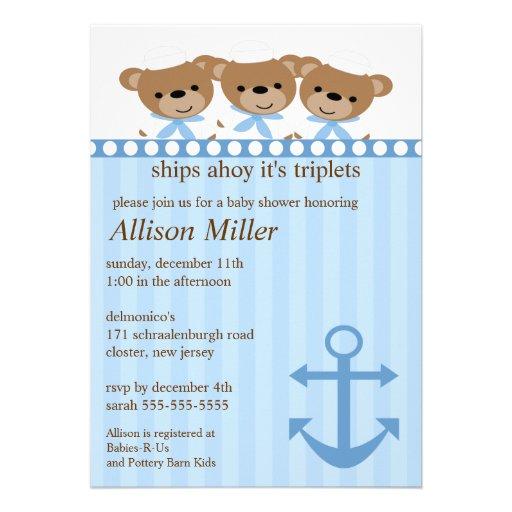 Ships Ahoy It's TRIPLET'S Baby Shower Custom Announcement