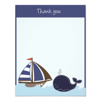 Ships Ahoy Mate Navy 4x5 Flat Thank you note Card