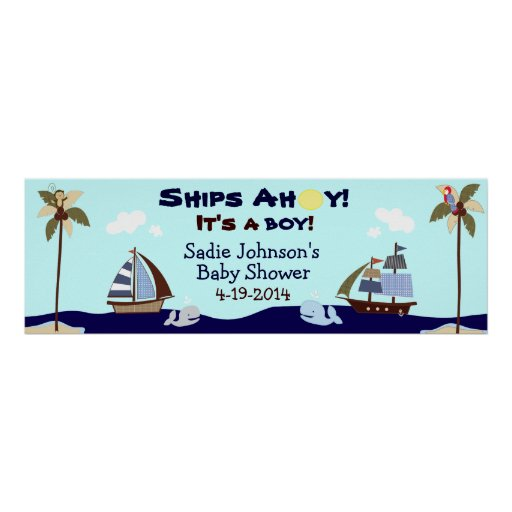 Ships Ahoy Nautical Baby Shower Banner Posters