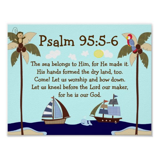 Ships Ahoy Nautical Bible Verse Wall Print Zazzle Com