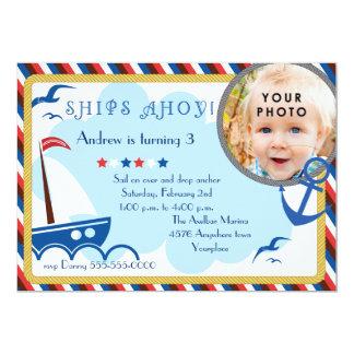 Ships Ahoy nautical birthday invitation