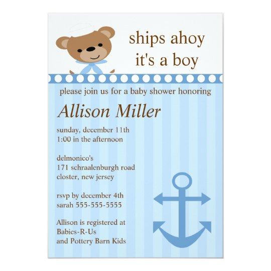Ships Ahoy Nautical Boy Baby Shower Card