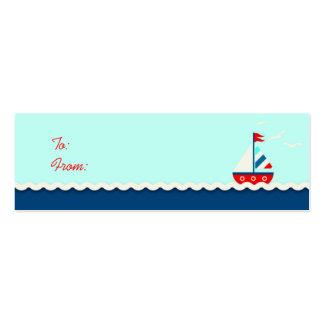 Ships Ahoy! Skinny Gift Tag Aqua Mini Business Card