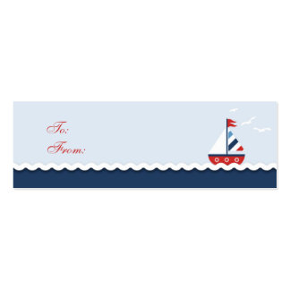 Ships Ahoy! Skinny Gift Tag Business Card Template