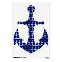 Ship's Anchor Blue and White Nautical Wall Decal
