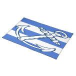Ships Anchor Blue Stripes Cloth Place Mat