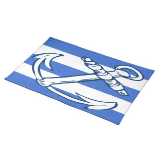 Ships Anchor Blue Stripes Cloth Place Mat