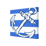 Ships Anchor Blue Stripes Wrapped Canvas Print