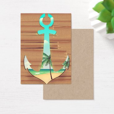 Beach Themed Ships Anchor in a board walk Business Card