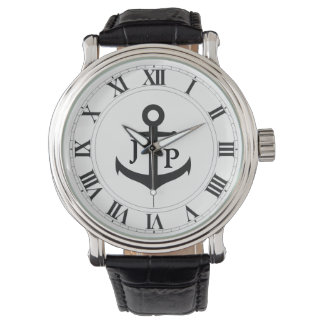 Ships Anchor Men's Vintage Leather Strap Watch