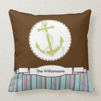 Ships Anchor Nautical Custom Throw Pillow
